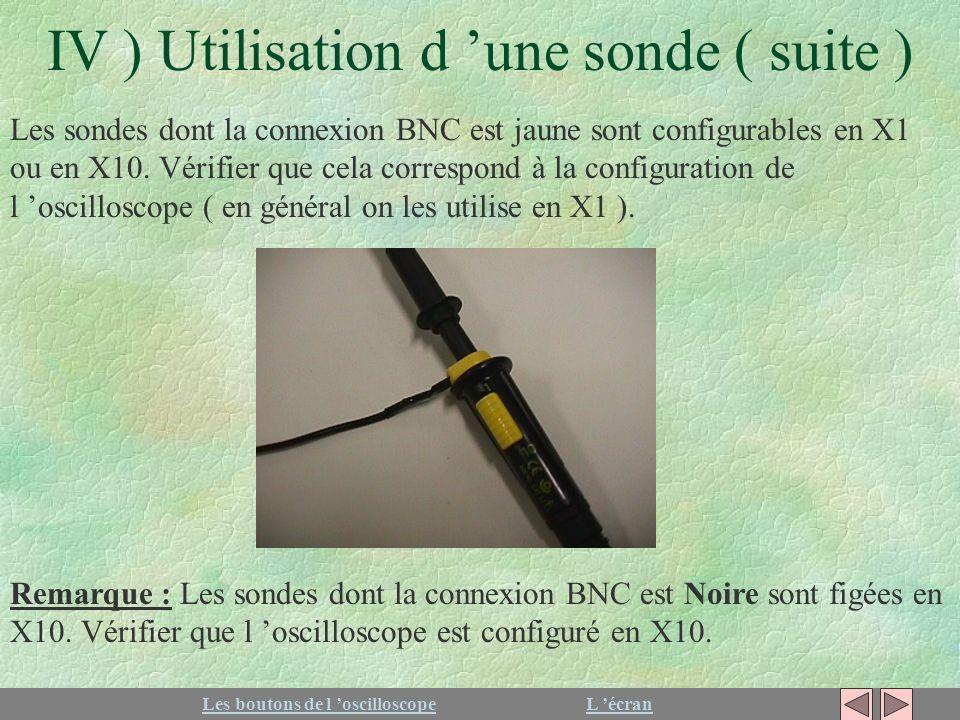 IV ) Utilisation d 'une sonde ( suite )