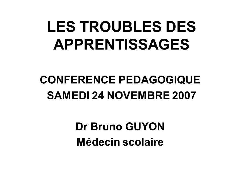LES TROUBLES DES APPRENTISSAGES