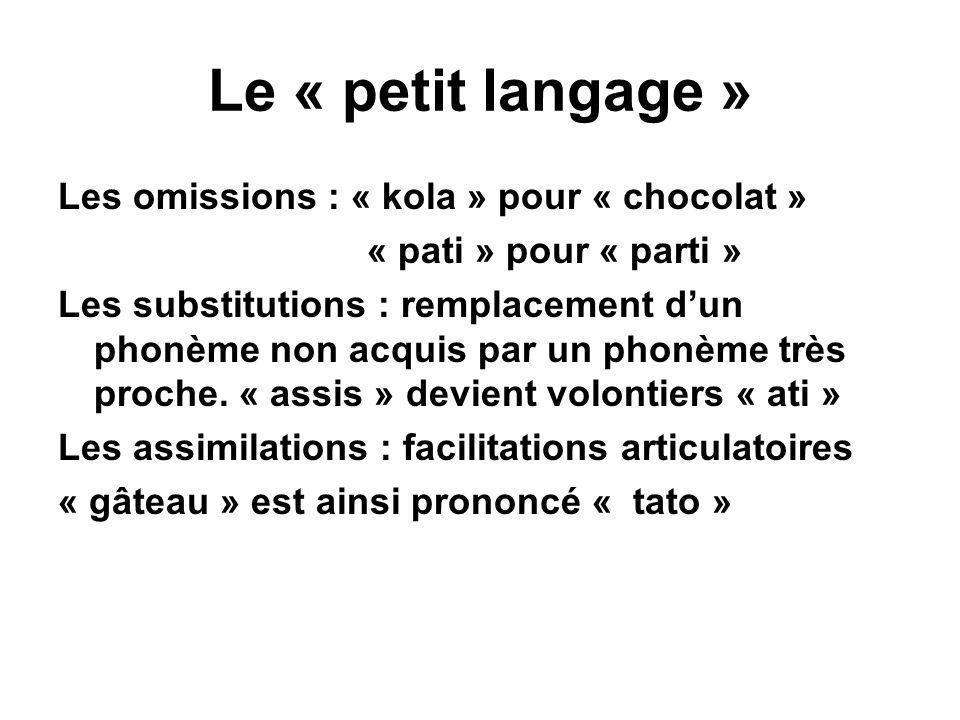 Le « petit langage » Les omissions : « kola » pour « chocolat »