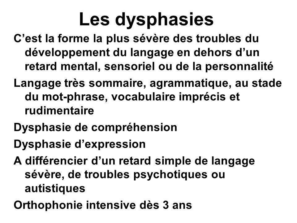 Les dysphasies C'est la forme la plus sévère des troubles du développement du langage en dehors d'un retard mental, sensoriel ou de la personnalité.