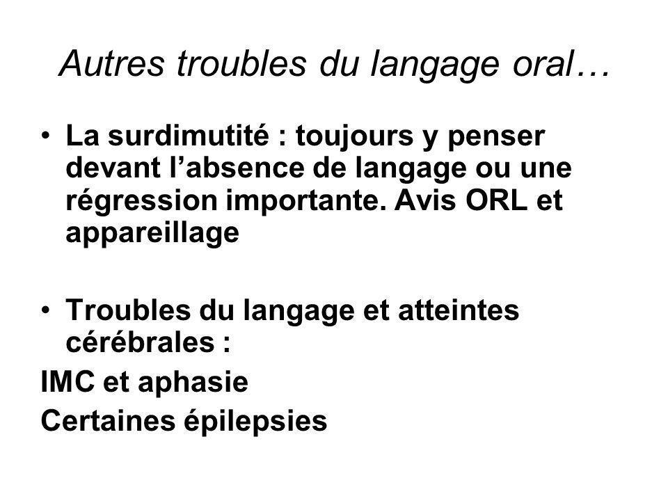 Autres troubles du langage oral…