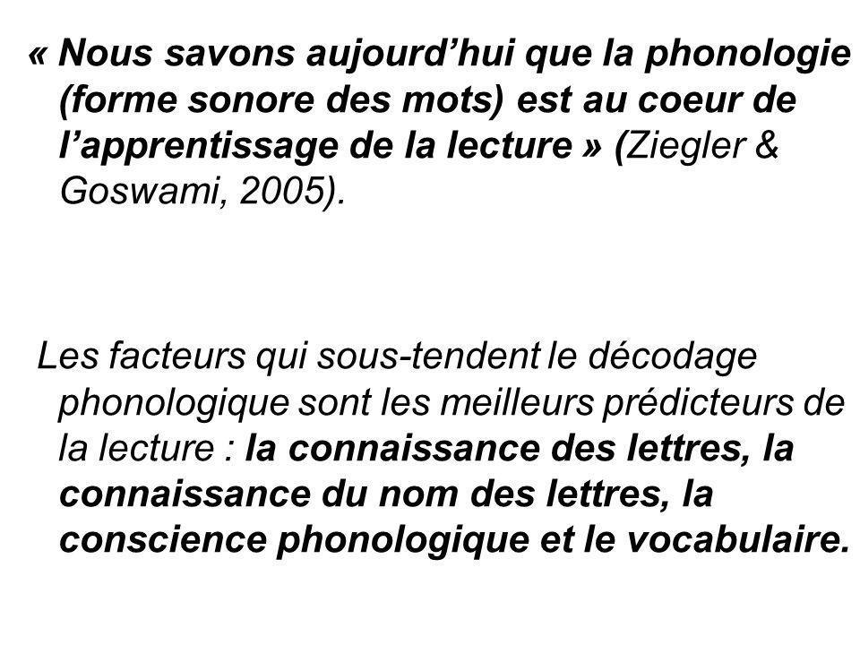 « Nous savons aujourd'hui que la phonologie (forme sonore des mots) est au coeur de l'apprentissage de la lecture » (Ziegler & Goswami, 2005).