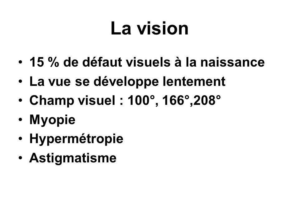 La vision 15 % de défaut visuels à la naissance