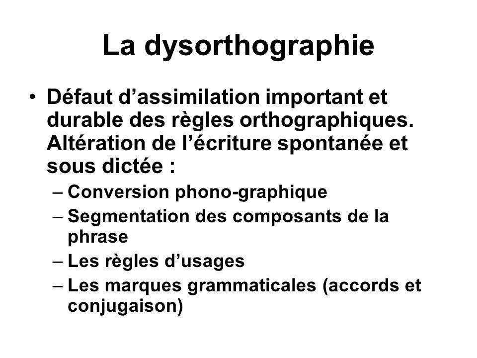 La dysorthographie Défaut d'assimilation important et durable des règles orthographiques. Altération de l'écriture spontanée et sous dictée :