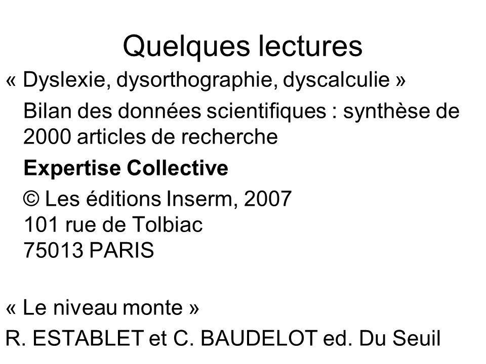 Quelques lectures « Dyslexie, dysorthographie, dyscalculie »