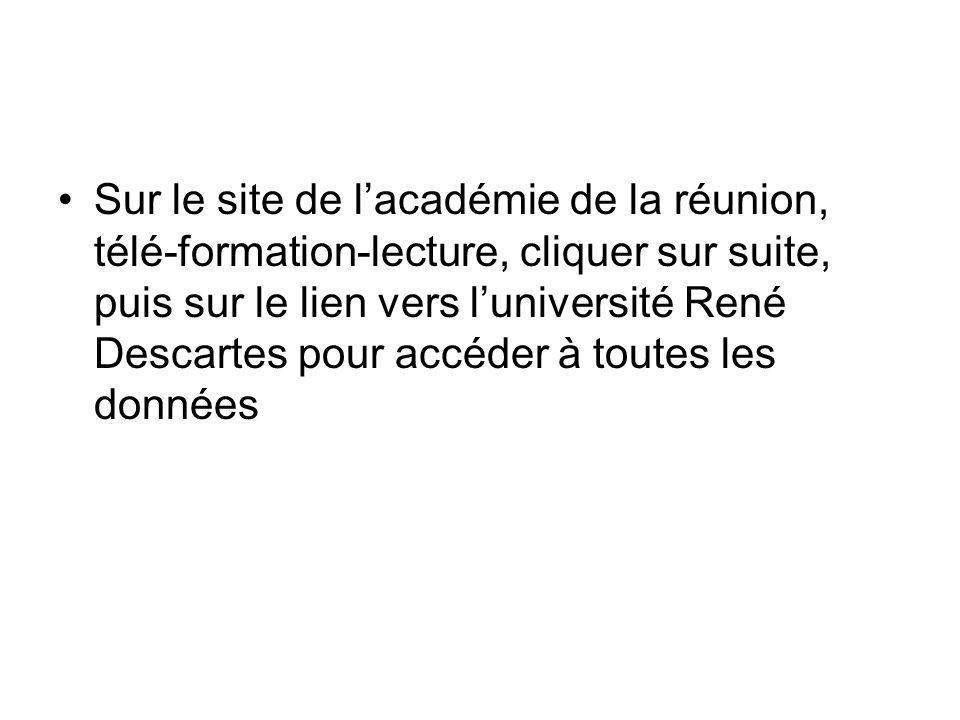 Sur le site de l'académie de la réunion, télé-formation-lecture, cliquer sur suite, puis sur le lien vers l'université René Descartes pour accéder à toutes les données