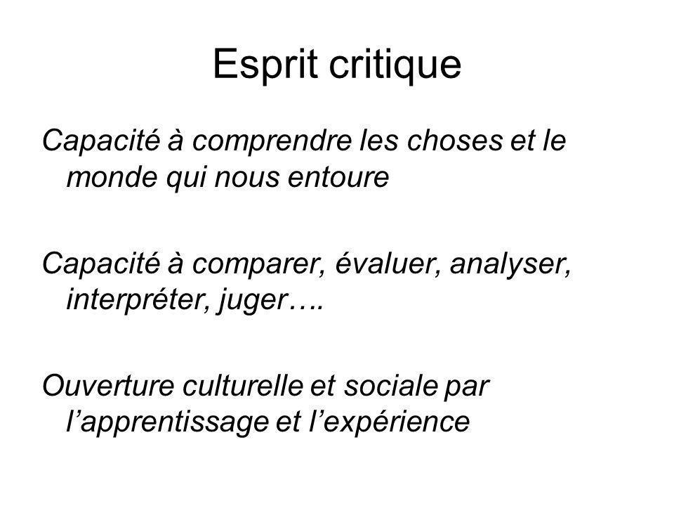 Esprit critique Capacité à comprendre les choses et le monde qui nous entoure. Capacité à comparer, évaluer, analyser, interpréter, juger….