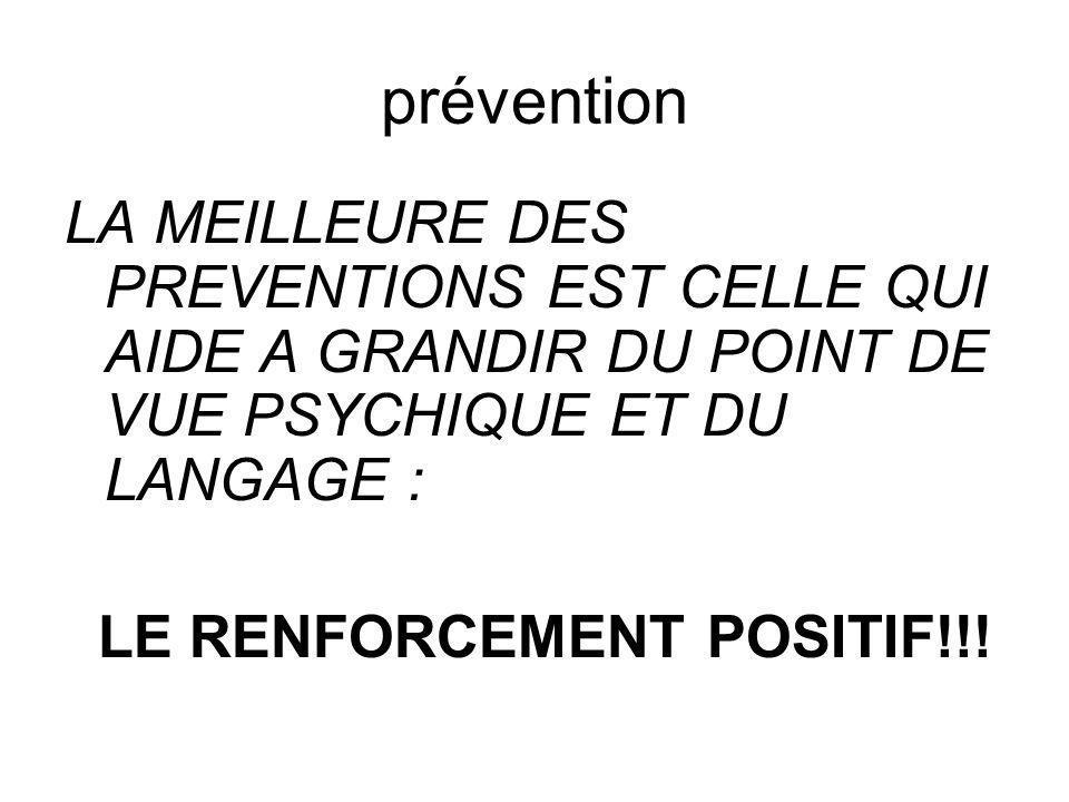 prévention LA MEILLEURE DES PREVENTIONS EST CELLE QUI AIDE A GRANDIR DU POINT DE VUE PSYCHIQUE ET DU LANGAGE :