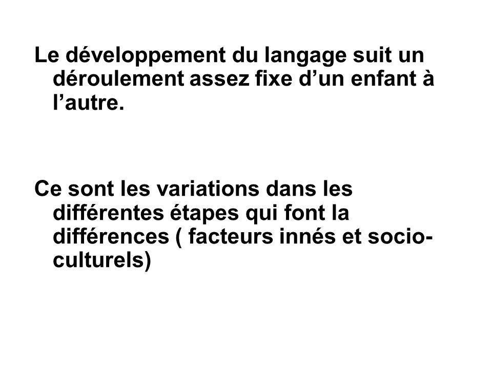 Le développement du langage suit un déroulement assez fixe d'un enfant à l'autre.