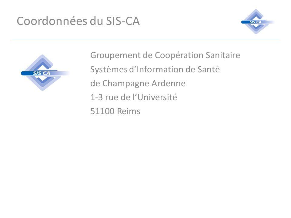Coordonnées du SIS-CA Groupement de Coopération Sanitaire