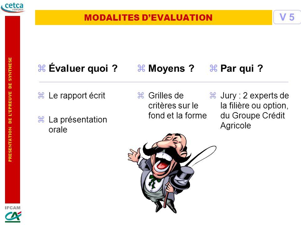 MODALITES D'EVALUATION