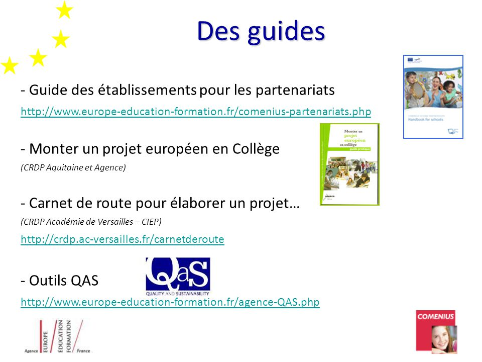 Des guides - Guide des établissements pour les partenariats