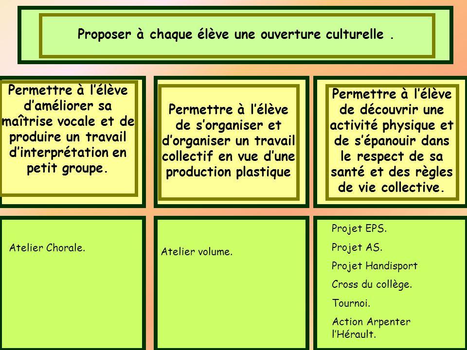 Proposer à chaque élève une ouverture culturelle .