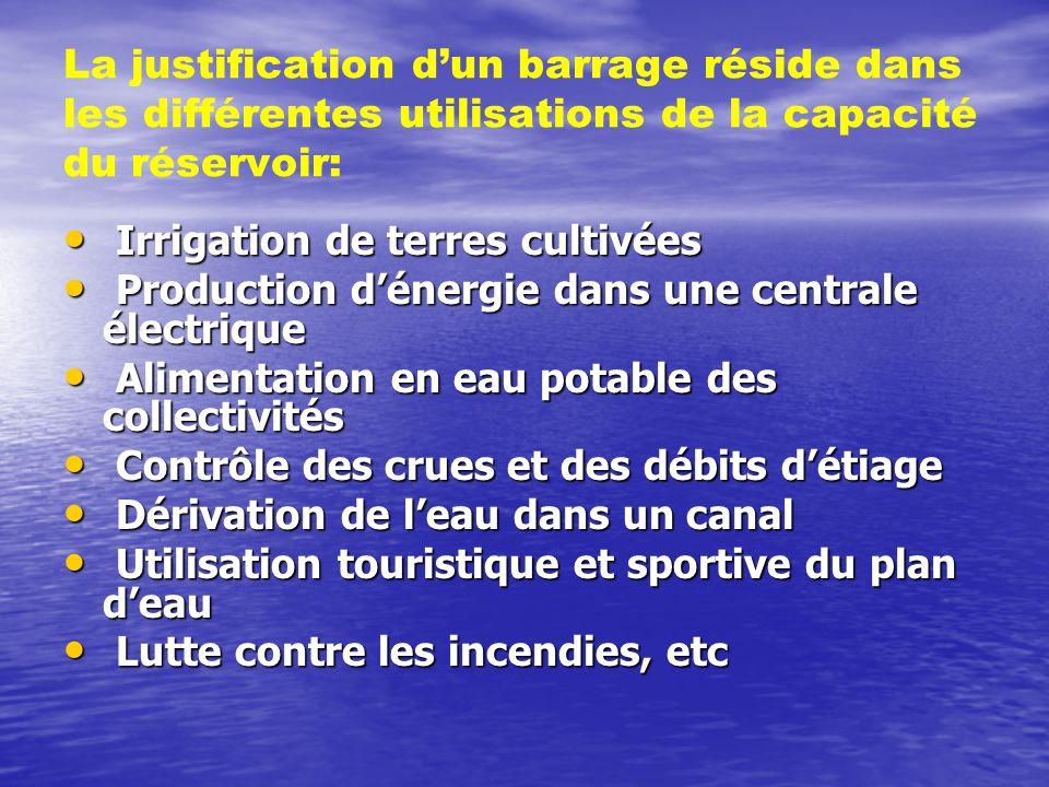 La justification d'un barrage réside dans les différentes utilisations de la capacité du réservoir:
