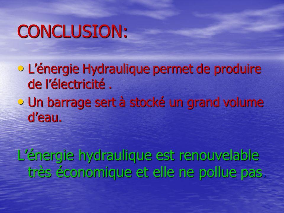 CONCLUSION: L'énergie Hydraulique permet de produire de l'électricité . Un barrage sert à stocké un grand volume d'eau.