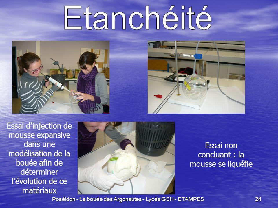 Etanchéité Essai d'injection de mousse expansive dans une modélisation de la bouée afin de déterminer l'évolution de ce matériaux.