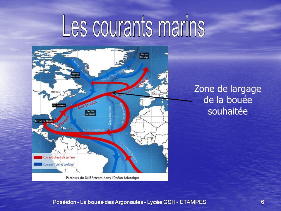 Les courants marins Zone de largage de la bouée souhaitée