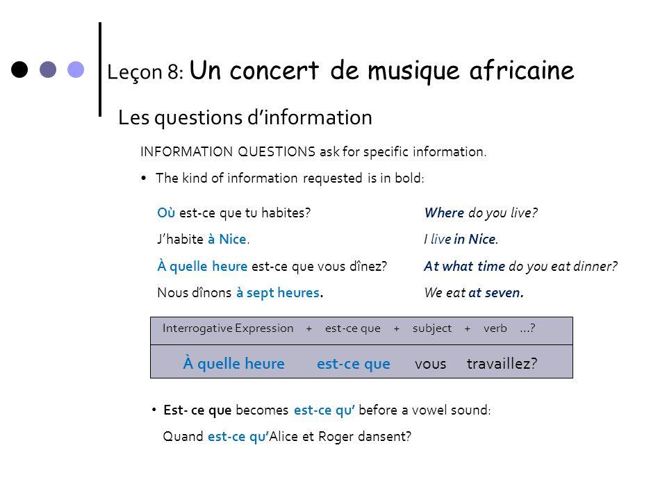 Leçon 8: Un concert de musique africaine