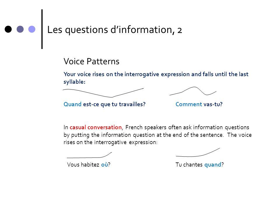 Les questions d'information, 2