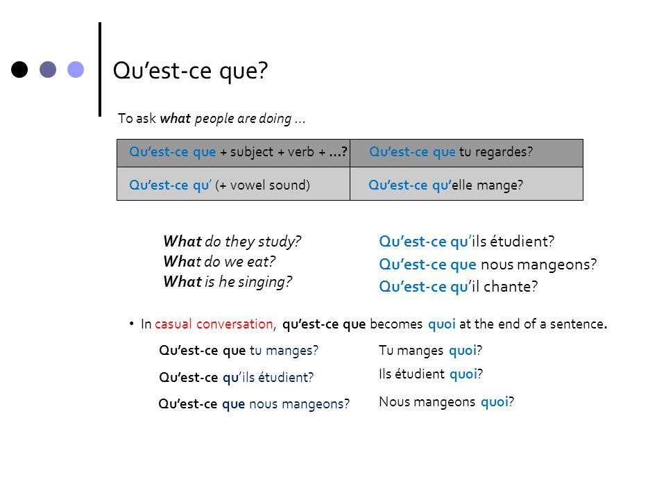 Qu'est-ce que What do they study What do we eat What is he singing