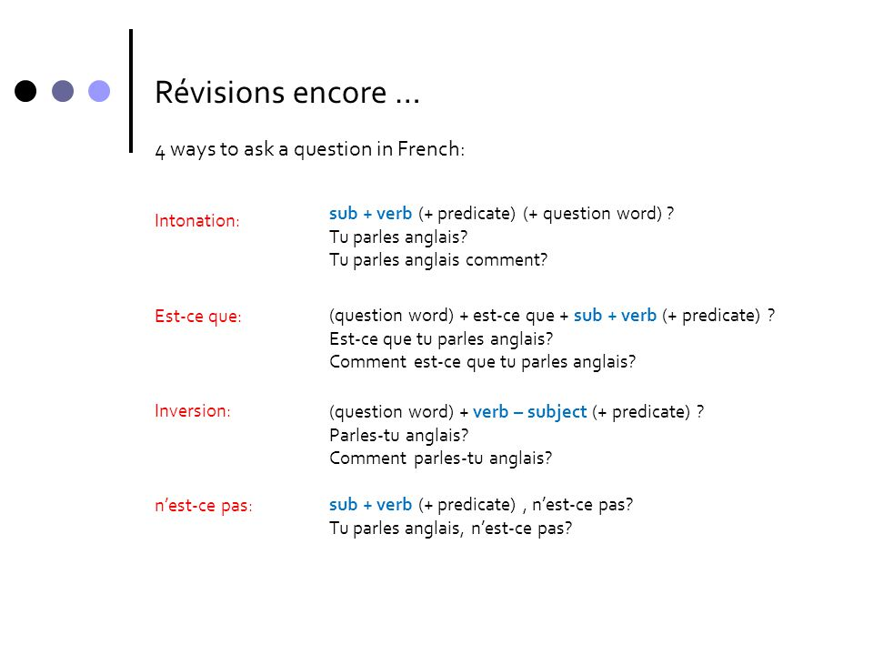 Révisions encore … 4 ways to ask a question in French: