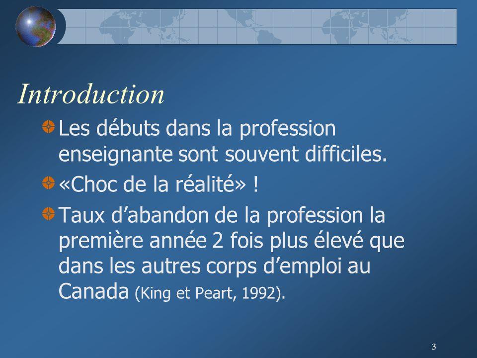 Introduction Les débuts dans la profession enseignante sont souvent difficiles. «Choc de la réalité» !