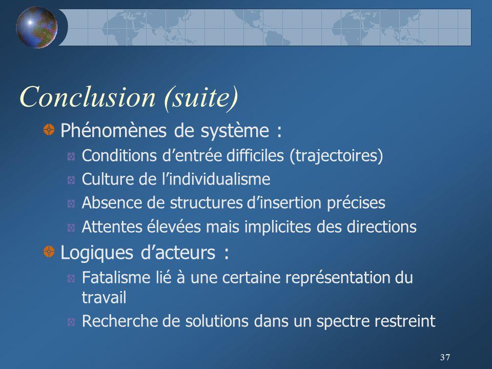 Conclusion (suite) Phénomènes de système : Logiques d'acteurs :
