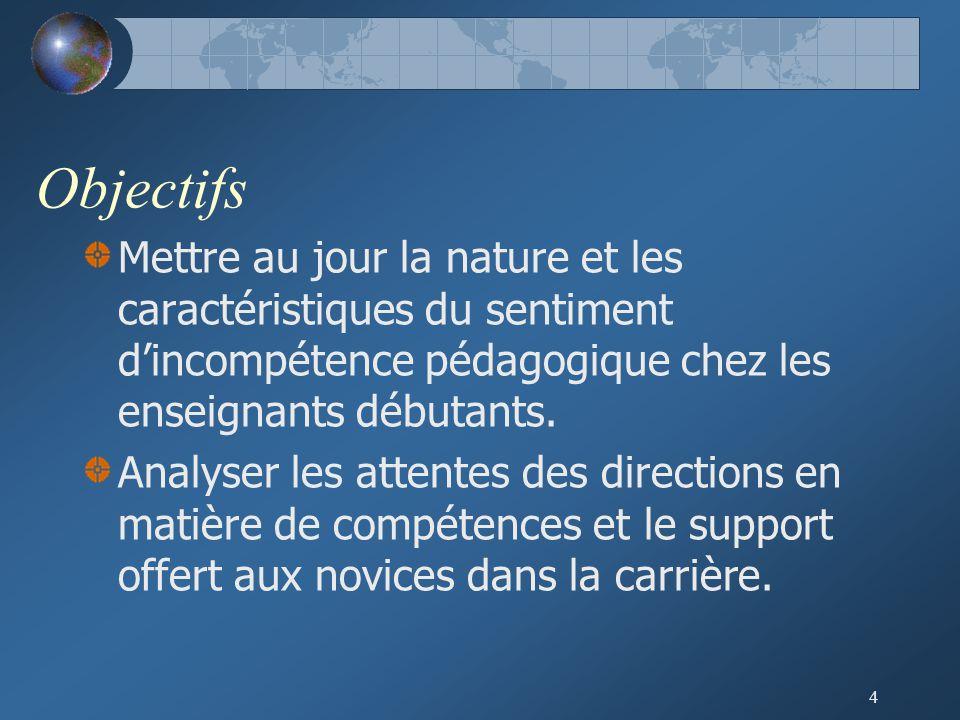 Objectifs Mettre au jour la nature et les caractéristiques du sentiment d'incompétence pédagogique chez les enseignants débutants.