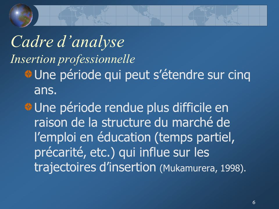 Cadre d'analyse Insertion professionnelle