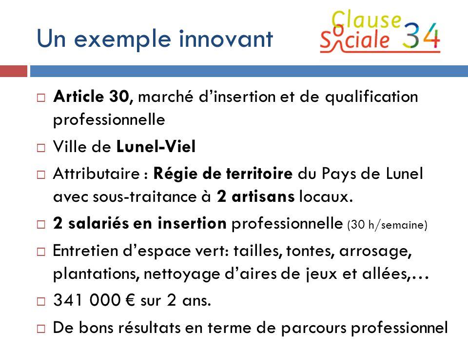 Un exemple innovant Article 30, marché d'insertion et de qualification professionnelle. Ville de Lunel-Viel.