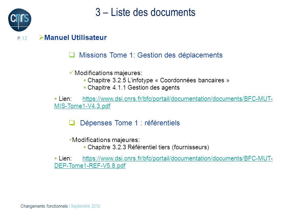 3 – Liste des documents Manuel Utilisateur