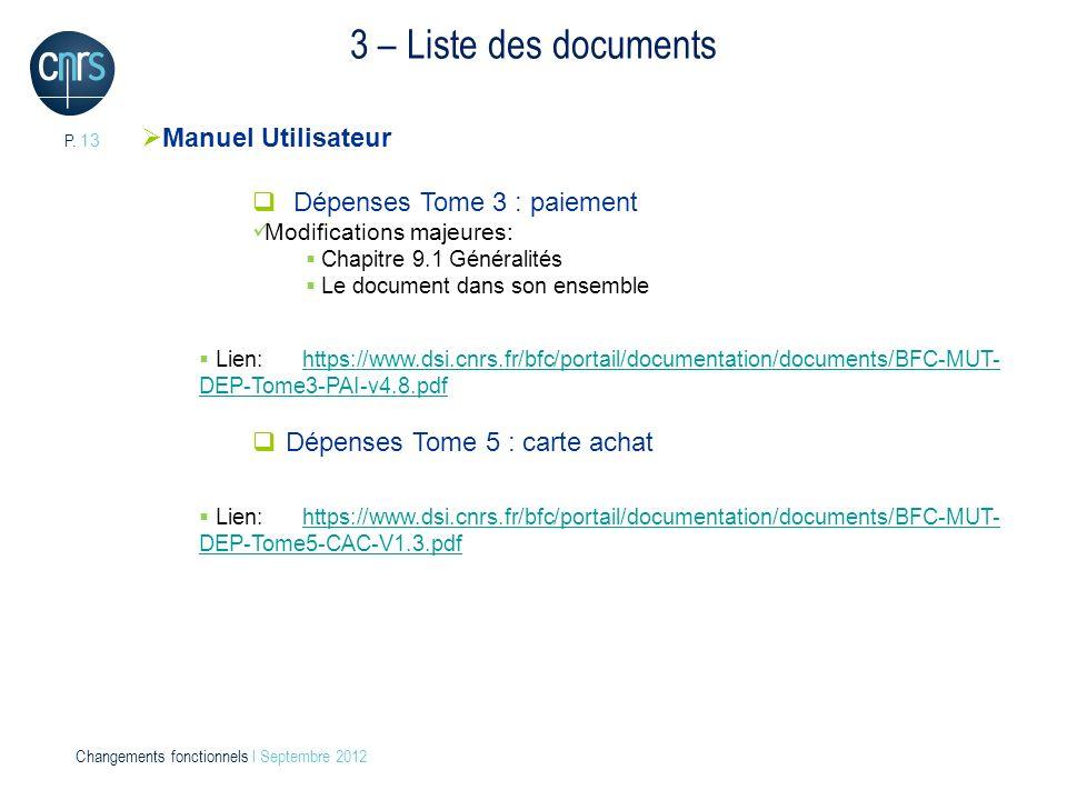 3 – Liste des documents Manuel Utilisateur Dépenses Tome 3 : paiement
