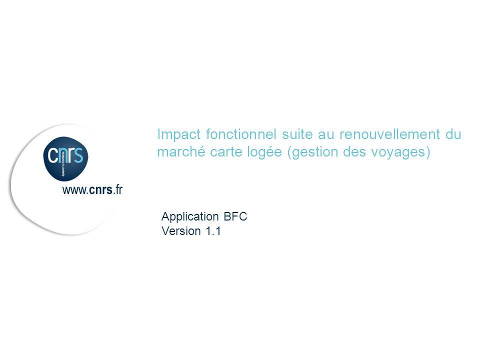 Impact fonctionnel suite au renouvellement du marché carte logée (gestion des voyages)