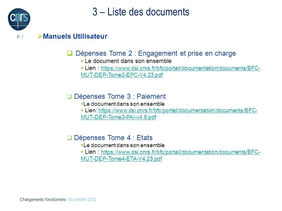 3 – Liste des documents Manuels Utilisateur