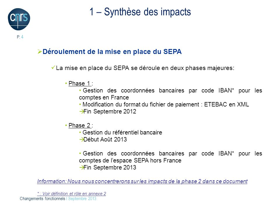 1 – Synthèse des impacts Déroulement de la mise en place du SEPA