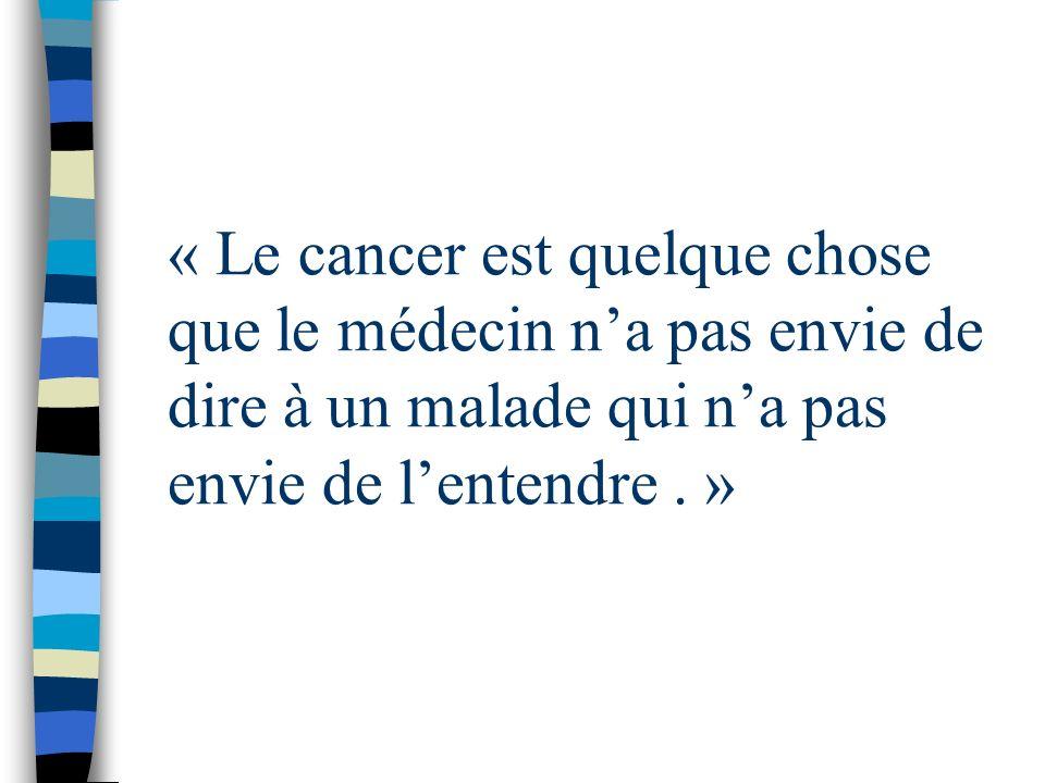 « Le cancer est quelque chose que le médecin n'a pas envie de dire à un malade qui n'a pas envie de l'entendre . »