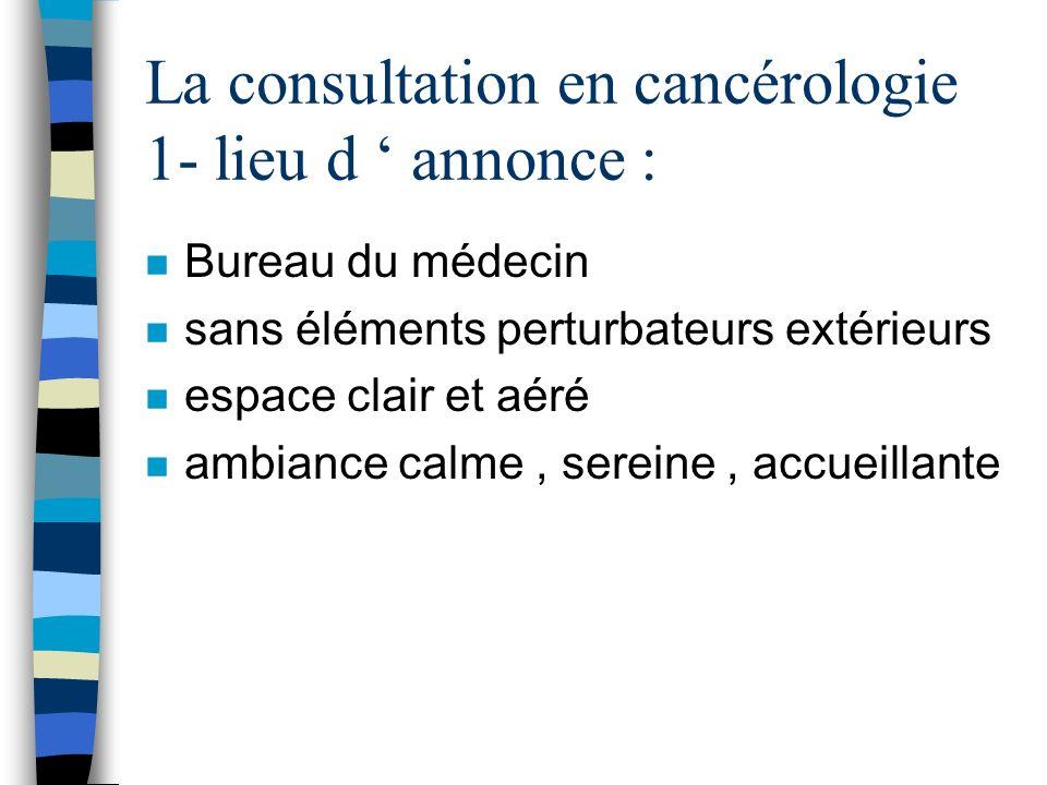 La consultation en cancérologie 1- lieu d ' annonce :