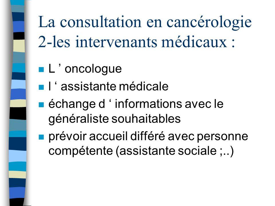 La consultation en cancérologie 2-les intervenants médicaux :
