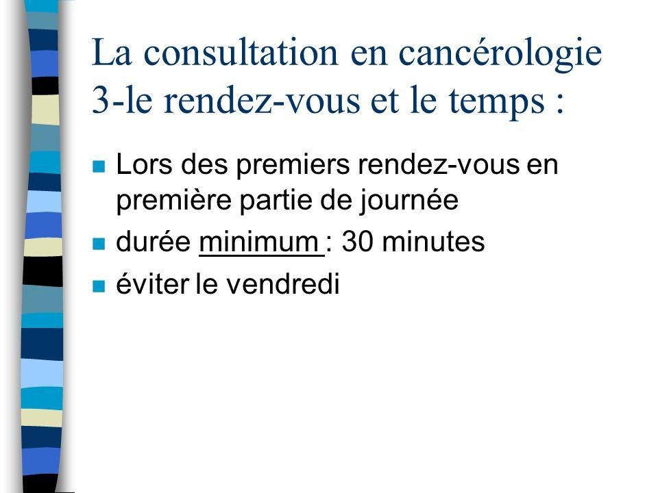 La consultation en cancérologie 3-le rendez-vous et le temps :