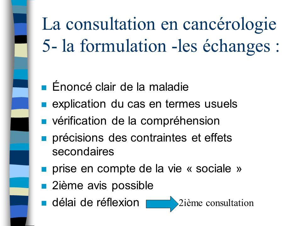 La consultation en cancérologie 5- la formulation -les échanges :