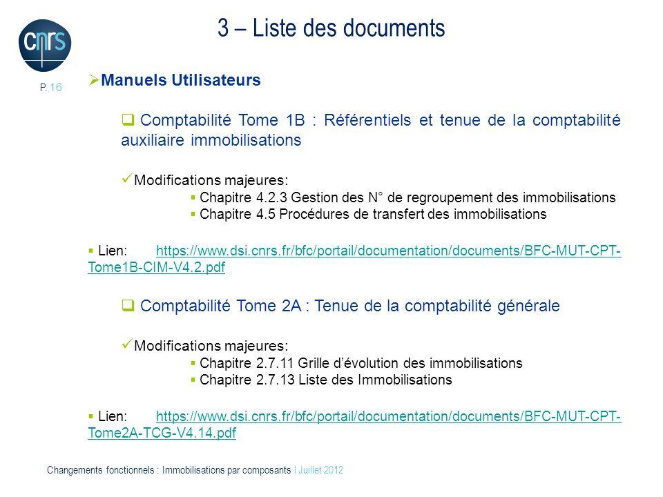 3 – Liste des documents Manuels Utilisateurs