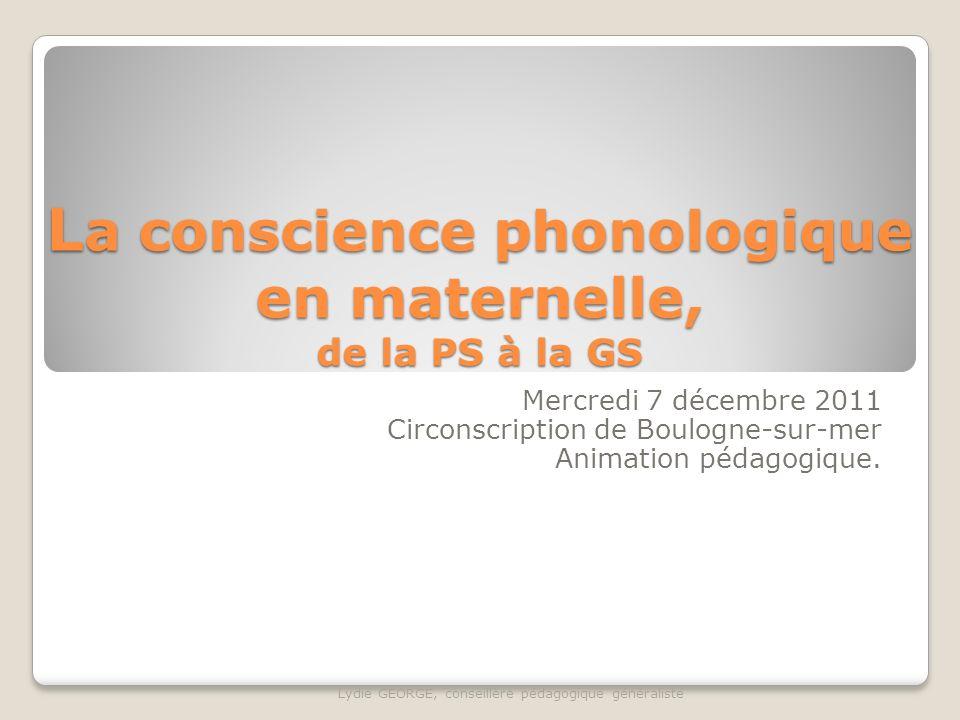 La conscience phonologique en maternelle, de la PS à la GS