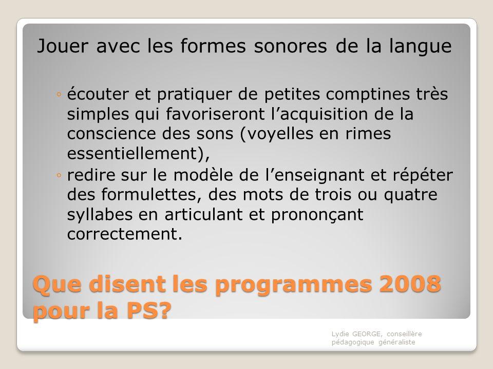 Que disent les programmes 2008 pour la PS