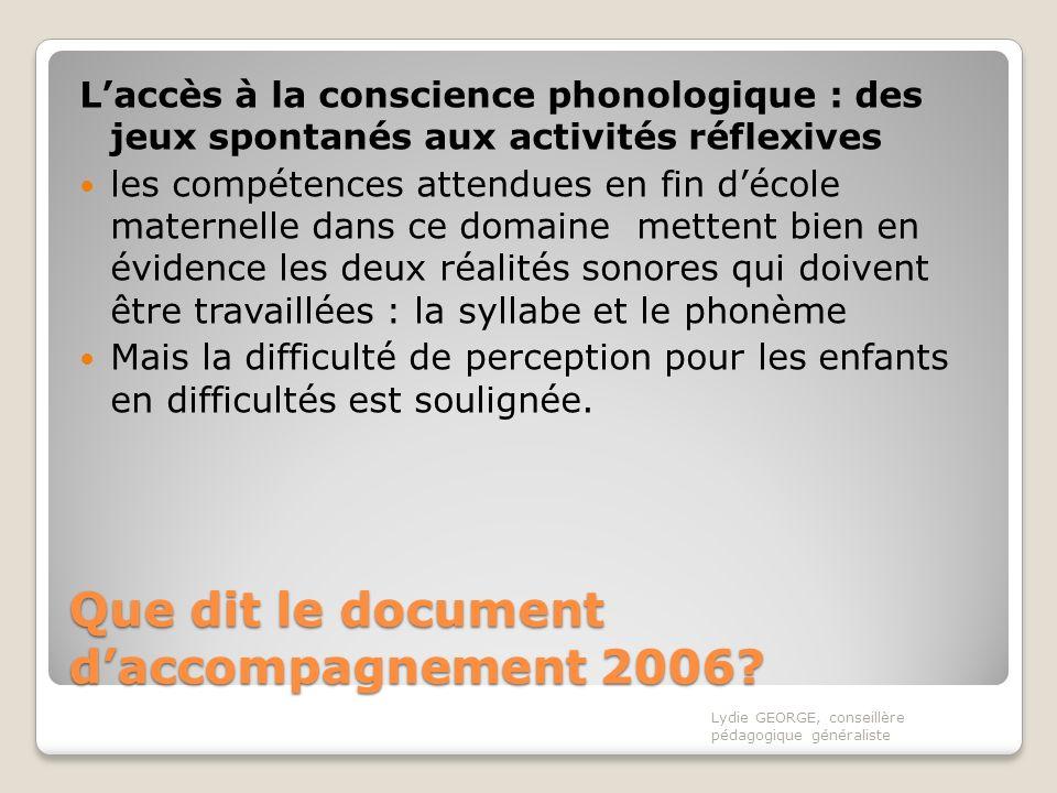 Que dit le document d'accompagnement 2006
