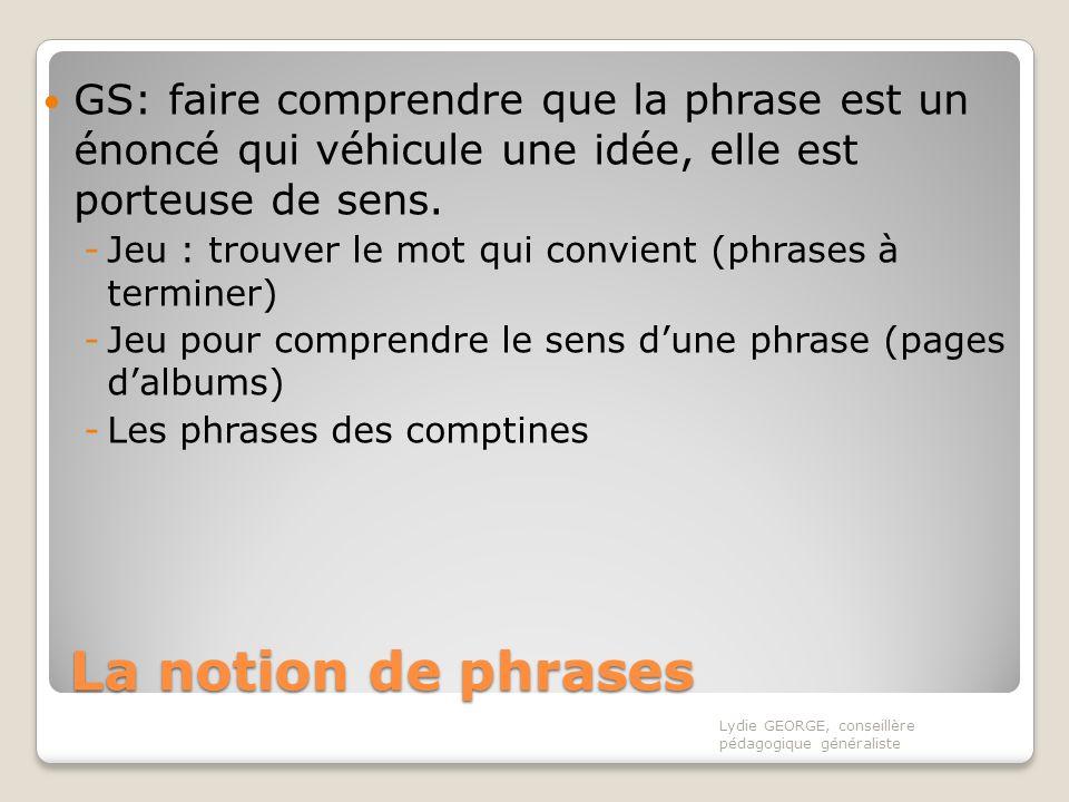 GS: faire comprendre que la phrase est un énoncé qui véhicule une idée, elle est porteuse de sens.