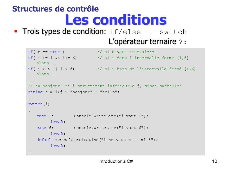 Les conditions Structures de contrôle