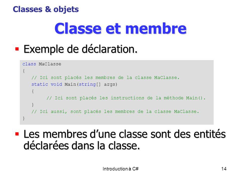 Classe et membre Exemple de déclaration.