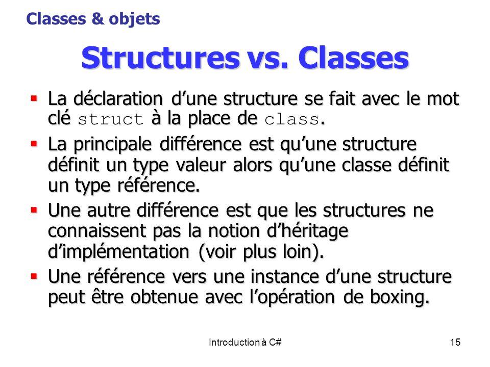Classes & objetsStructures vs. Classes. La déclaration d'une structure se fait avec le mot clé struct à la place de class.