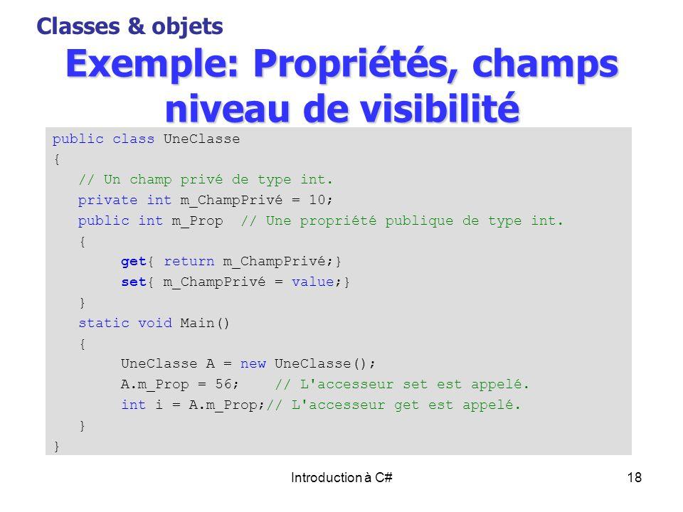 Exemple: Propriétés, champs niveau de visibilité