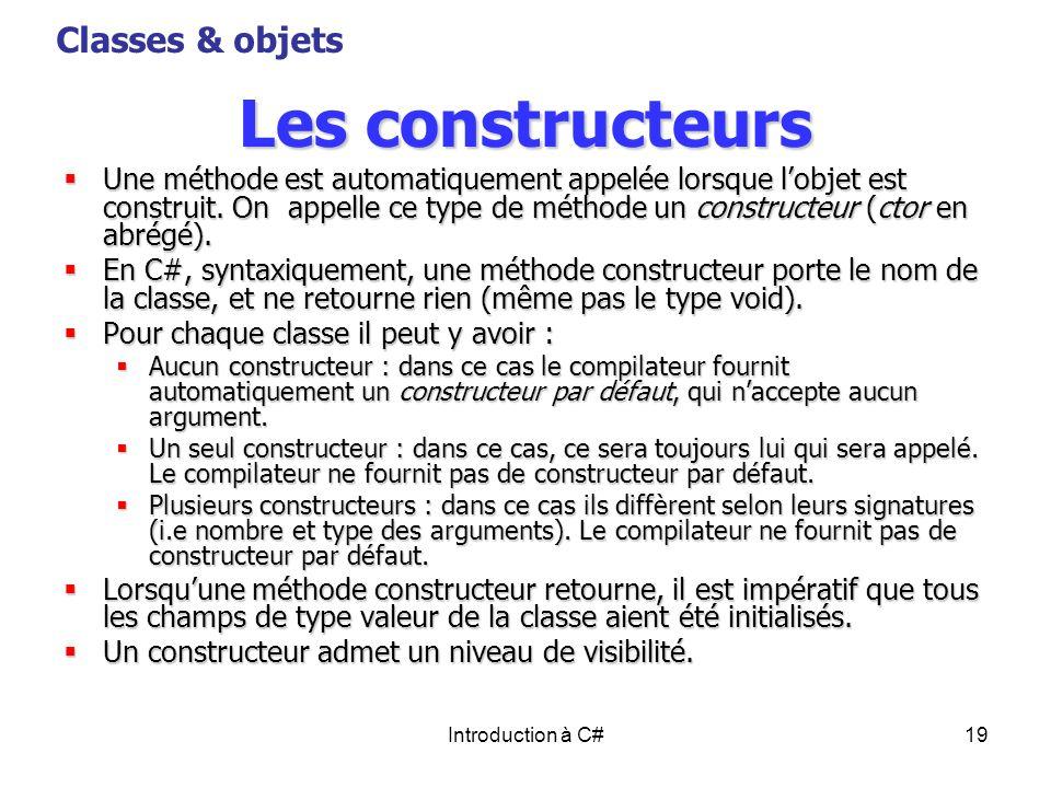 Les constructeurs Classes & objets